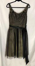 BCBG MAXAZRIA Dress Women's Size 12, Black & Gold Spaghetti Strap, NWT MSRP $478