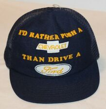 I'd Rather Push A Chevrolet Than Drive A Ford Vintage Snapback Trucker Hat Cap