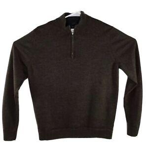 John W Nordstrom Brown Sweater Pull Over Zip 100% Italian Merino 1/2 Zip Size L