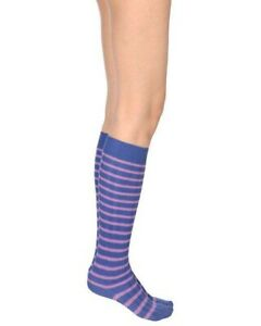 Red Valentino Womens Striped BRACS33P Socks Giacinto Rose Blue Purple XL