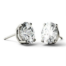 Def Basket Studs Solitaire Earrings 1.00 Ct Oval Moissanite Colorless