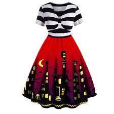 Halloween Swing Dress Women Ladies Pumpkin Skeleton Party Tunic Fancy Dresses