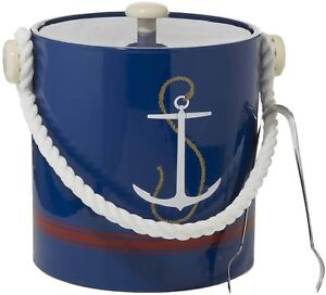 Hand Made In USA Navy Anchor With Rope Handle Double Walled 3-Quart Ice Bucket