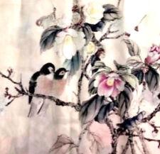 """100% Silk Scarf/175x50cm-Exquizite/Handmade*Silk-Art""""Exotica Birds-1-brt08*BR"""