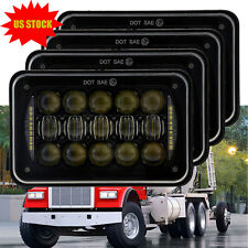"DOT Approved 4x6"" LED Headlights Halo DRL for Kenworth Peterbilt H4651 H4652 4PC"