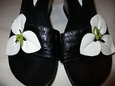 Hush Puppies Womens Leather Black White Floral Wedge Slide Sandal Shoes Size 6 M