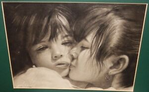 ASIAN MOTHER AND DAUGHTER ORIGINAL CHARCOAL PAINTING SIGNED