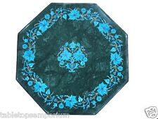 "15"" Green Marble Rare Turquoise Foyer Table Coffee Top Paua Shell Decor Gifts"