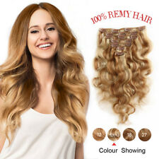 Remy Clip in Body Wave Wavy Human Hair Extensions Hair Weft 7Pcs/70g #12-613