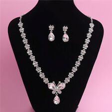 Wedding Party Prom Bride Crystal Diamond Silver Necklace Earrings Set Jewelry UK