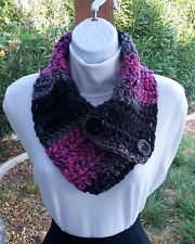 Black Gray Grey & Pink Women's NECK WARMER SCARF with Buttons, Soft Crochet Knit