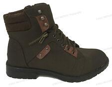 Men's Military Combat Boots Lace Up Ankle Side Zipper Fur Lined Warm Shoes Sizes