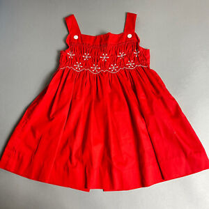 Vintage 80s Polly Flinders Girls 6X Red Smocked Snowflake Pinafore Apron Dress