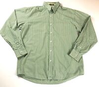 James Tattersall Long Sleeve Button-Up Men's Shirt SZ M Collar Green Striped EUC