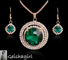 Art Deco Gold Filled CZ EmeraldGem Pendant Necklace Earrings SetUK Seller