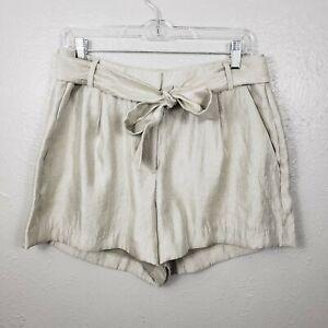 Loft womens sz 8 metallic gold shimmer Tie Waist paperbag Shorts Sz 8 high rise