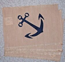 SET 4 ANCHOR PLACE MATS/ NAUTICAL/BEACH/MARINE/ SUMMER/KHAKI/NAVY/ JUTE/POLY/NWT
