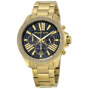 Michael Kors Wren Blue Crystal Chronograph Gold Tone Ladies Watch MK6291