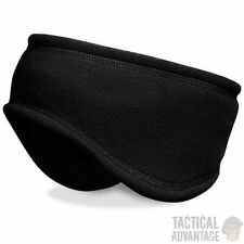 Black Micro Fleece Headband Ear Warmer Muffs Skiing Snowboarding Head Band Hat