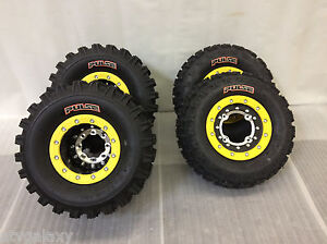 Hiper Tech 3 Beadlock Wheels CST Pulse Tires Front/Rear Kit Suzuki LTR450 LTZ400