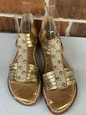 Sam And Libby Gold Brown Metallic Studded Strappy Gladiator Sandals Size 9