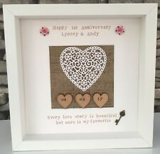 💜First Anniversary Gift Frame - Paper Heart -Mulberry Paper Roses - Wedding