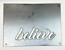 "12 x 9"" Believe Metal Wall Art Craft Stencil Vintage Farmhouse Rectangle Sign"