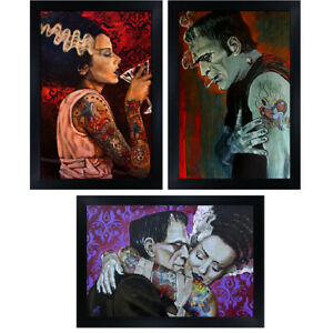 Frankenstein and Bride by Mike Bell Love 3 Framed Wall Art Prints