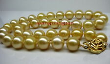 """AAAAA 18""""10-11mm NATURAL REAL round South sea golden pearl necklace 14K gold"""