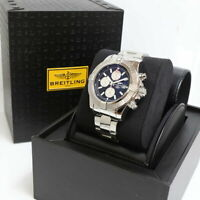 BREITLING Super Avenger ll Chronograph Steel Mens Watch A13371 W/ Box Ex++