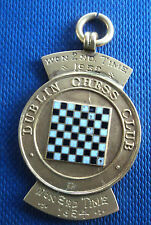 Irish 9ct Yellow Gold & Enamel Dublin CHESS Club Fob Medal - h/m Dublin 1929