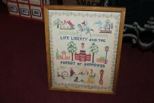 Vintage American Sampler Life Liberty Pursuit Of Happiness Framed