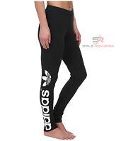 New Adidas Originals Black Big TREFOIL LEGGINGS AJ8081 Basic PB Womens Linear