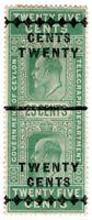 (I.B) Ceylon Telegraphs : 20c on 25c Green OP