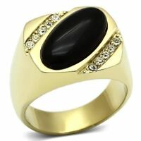 716 BLACK ONYX MENS SIGNET PINKY RING GOLD STAINLESS STEEL SALE NEW MANS