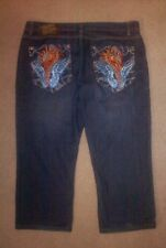 Christian Audigier Embroidered Dragon Jean Shorts,Size w42 x l26,XL,Ed Hardey