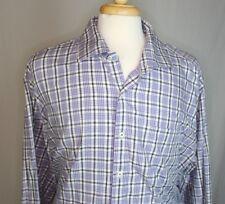 Peter Millar XXL  Cotton Plaid Spread Collar Casual Shirt Purple Gray White EUC
