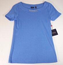 Rafaella Short Sleeve Shirt Top  Marina Blue Blouse Small