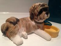 Shih Tzu With Bowl Ornament Figure Figurine Model Gift Brown/White