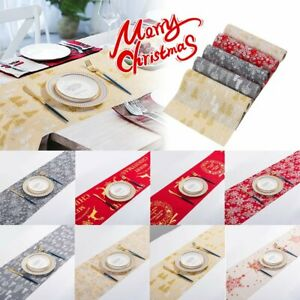 Christmas Table Runner 2.7m Long Embroidered Xmas Decoration Cloth Festive SP
