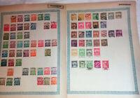Sur 7 anciennes pages d album anciens timbres de Hongrie