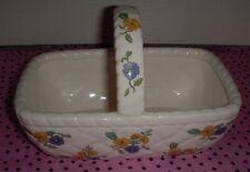 Elizabeth Arden Blue/Yellow Flowered Ceramic Basket - VINTAGE