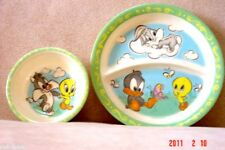 TWEETY BIRD BUGS BUNNY BABY PLATE & BOWL BY ZAKS DESIGN