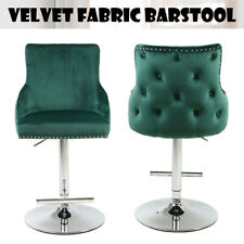 Tufted Bar Stool Swivel Gaslift Quality, Premium Mechanism Velvet Fabric, Chrome