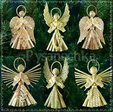 Set of 6 beautiful Angels. Ukrainian straw Ornament. Handmade