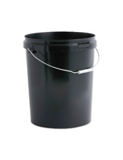 5 X 25 Litre Black Plastic Buckets With Lids and Metal Handle Hard Wearing