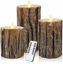 3 Pcs Flameless Candles Battery Operated Pillar Birch Effect Real Wax LED Light