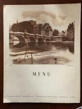"Old Restaurant Menu- Paquebot ""Ile-de- France"" 1952"