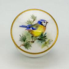 Royal Worcester Porcelain - Miniature Hand Painted Blue Tit Decorated Rouge Pot