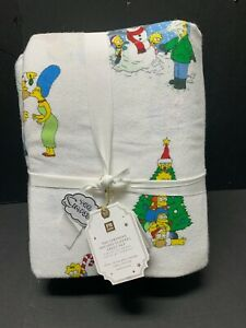 Pottery Barn Teen Flannel TWIN SIMPSONS Holiday Sheet Christmas Bed Bart Kids NW